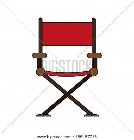 color image cartoon cinema director chair vector illustration