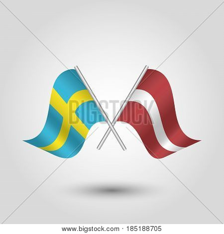 vector two crossed swedish and latvian flags on silver sticks - symbol of sweden and latvia