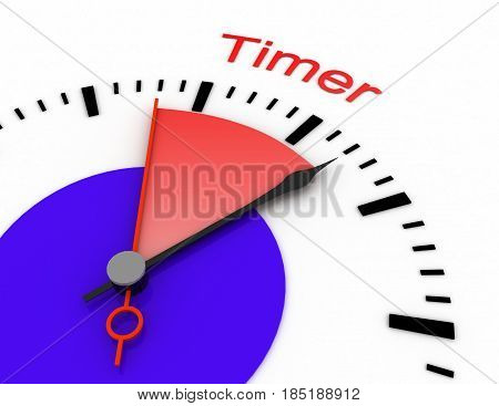 Clock With Red Seconds Hand Area Burnout 3D Timer.rendered Illustration