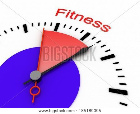 Clock With Red Seconds Hand Area 3D Fitness.rendered Illustration