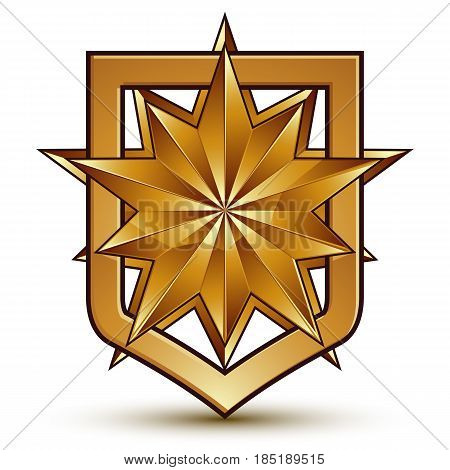 Vector glorious glossy design element with luxury 3d polygonal golden star conceptual graphic template clear EPS 8.