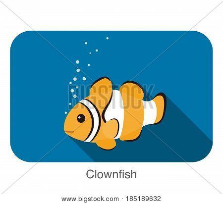 Cute Cartoon Clownfish Flat Icon Design, Vector