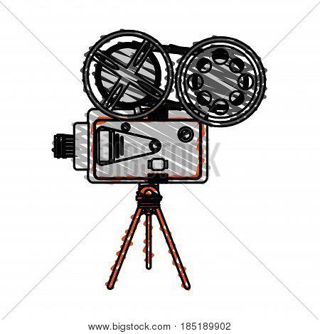 color crayon stripe image cartoon retro movie film projector vector illustration