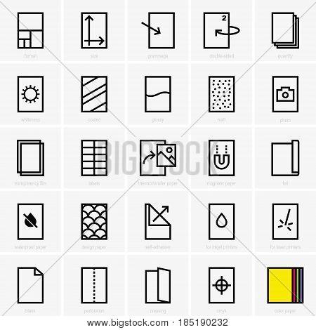 Set of twenty five paper properties icons