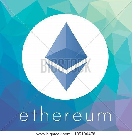 Ethereum cripto currency chrystal art icon logo for apps and websites