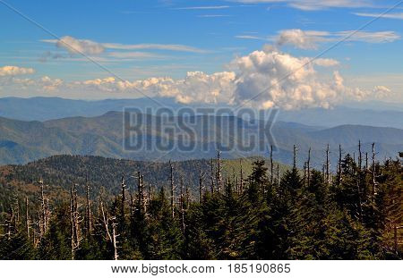 Appalachian mountain scene with a stream of clouds above the mountains.