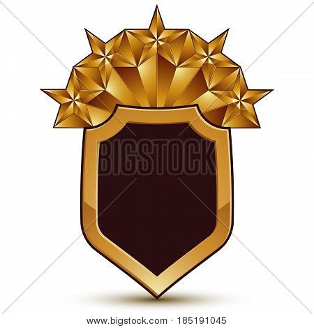 Vector glorious glossy design element with five luxury 3d pentagonal golden stars conceptual graphic template clear EPS 8.