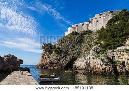 The triangular shaped Fort Lovrijenac jutting out into the Adriatic. The walls facing Dubrovnik are only 60 centimetres thick - in case the Fort was taken by an enemy it could easily be destroyed directly from the city walls.