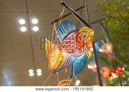 SINGAPORE - CIRCA SEPTEMBER, 2016: fish figure at Singapore Changi Airport. Changi Airport is one of the largest transportation hubs in Southeast Asia.