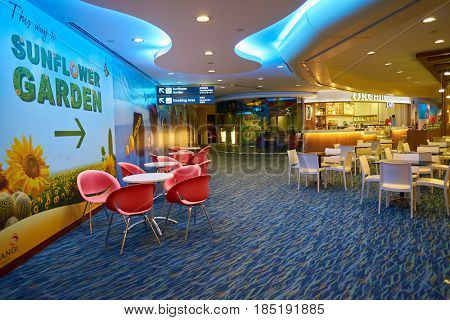 SINGAPORE - CIRCA AUGUST, 2016: Singapore Changi Airport. Changi Airport is one of the largest transportation hubs in Southeast Asia.
