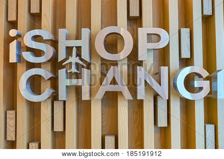 SINGAPORE - CIRCA SEPTEMBER, 2016: close up shot of Shop Changi sign at Singapore Changi Airport. Changi Airport is one of the largest transportation hubs in Southeast Asia.