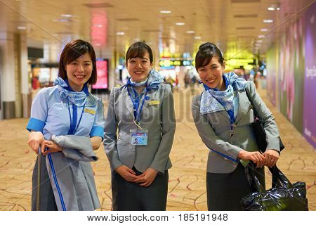 SINGAPORE - CIRCA SEPTEMBER, 2016: ANA cabin crew in Singapore Changi Airport. All Nippon Airways Co., Ltd.  is the largest airline in Japan.