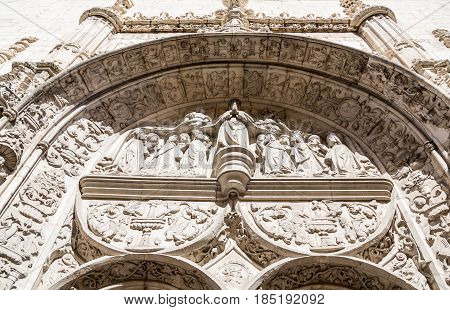 Scrollwork and sculptures on Ornate Detailed Arch on Lisbon Church