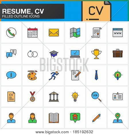Line Icons set for Resume or CV. Filled outline vector symbol collection linear colorful pictogram pack isolated on white logo illustration