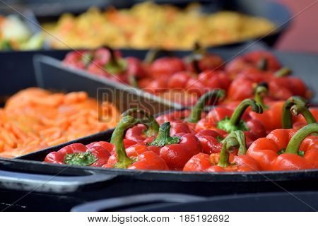 Fried vegetables on traditional restaurant fair in the centre of Vilnius Lithuania.