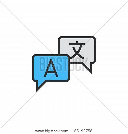 Language Translation Line Icon, Filled Outline Vector Sign, Linear Colorful Pictogram Isolated On Wh