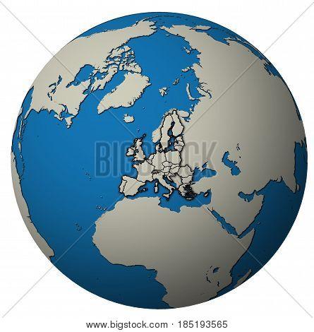 European Union Territory Over Globe Map