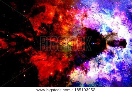 Cosmic space and stars, color cosmic abstract background. Crackle structure
