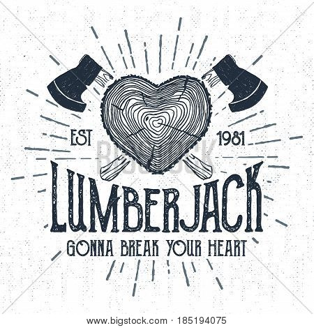 Hand drawn label with textured log vector illustration and