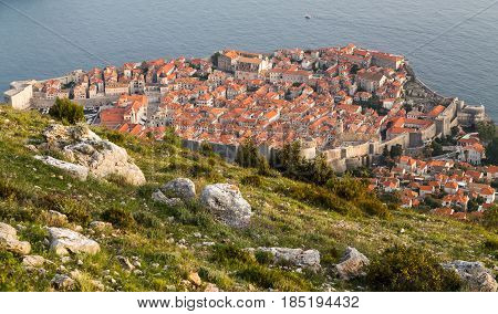 Multiple image panorama of Dubrovnik nestled between the turquoise coloured Adriatic Sea and the mountains of South Dalmatia.
