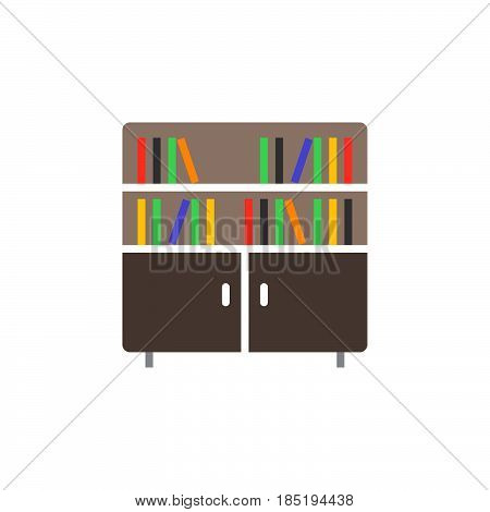 Bookcase Icon Vector, Solid Flat Sign, Colorful Pictogram Isolated On White, Logo Illustration