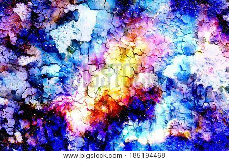 Cosmic space and stars, color cosmic abstract background. Crackle effect