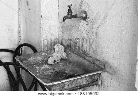 Old Dirty Metal Rusty Sink