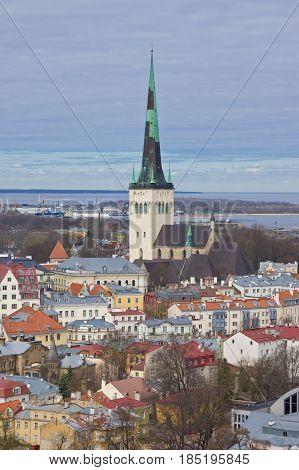 Aerial view of Oleviste (St.Olaf) church in old city of Tallinn Estonia
