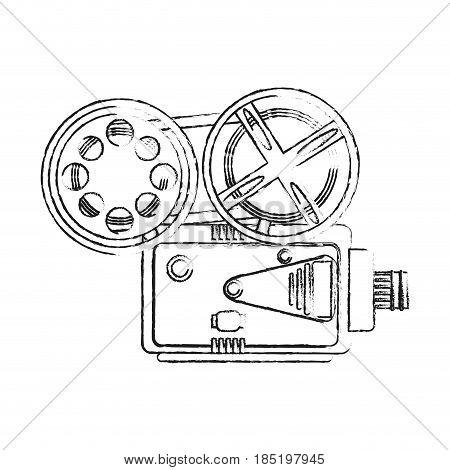 blurred silhouette image retro movie film projector vector illustration