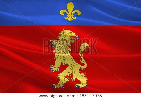 Flag of Charolles is a commune in the Saone-et-Loire department in the region of Bourgogne in eastern France. 3D illustration