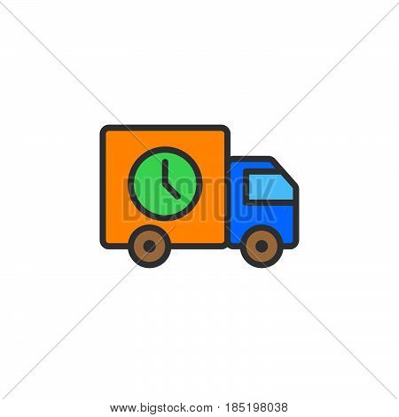 Fast Delivery lorry line icon filled outline vector sign linear colorful pictogram isolated on white. logo illustration