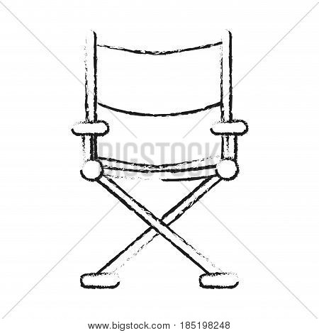 blurred silhouette image cinema director chair vector illustration