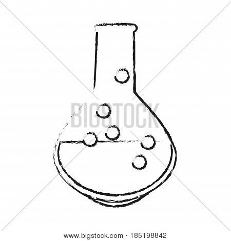 blurred silhouette image glass circular beaker for laboratory with liquid vector illustration