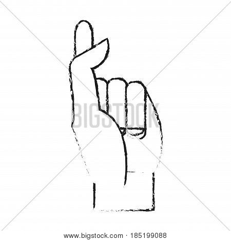 blurred silhouette image hand crossing fingers vector illustration