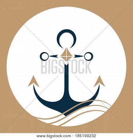 Ship anchor on the waves. Nautical logo.