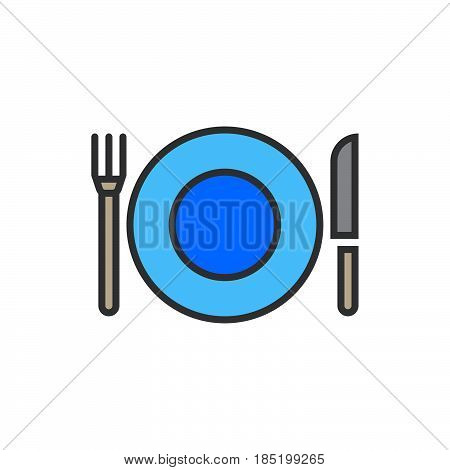 Plate Fork And Knife line icon dishware filled outline vector sign linear colorful pictogram isolated on white. logo illustration