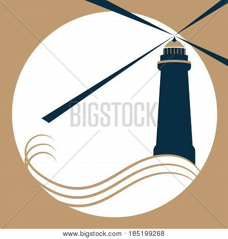 The lighthouse on the waves gives a light signal.