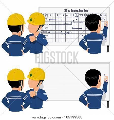 Three workers is scheduling his their work on  the white board