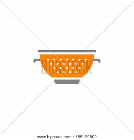 Colander icon vector pasta strainer solid flat sign colorful pictogram isolated on white logo illustration
