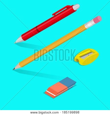 A set of office objects with shadows. A ball-point pen a pencil an eraser a sharpener for pencils. Office supplies in 3D style. Isometry. Design elements. Vector illustration.