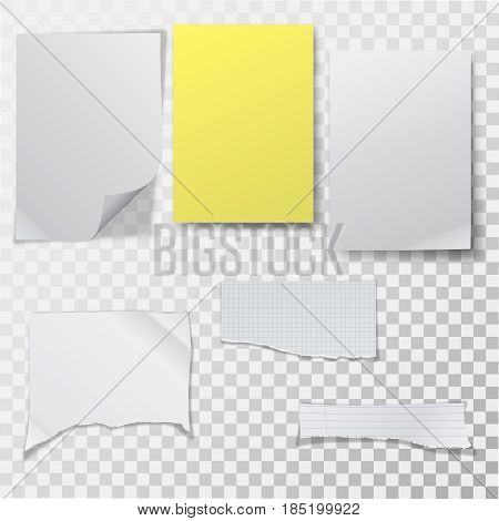 A set of clean sheets of paper on the transparent isolated background. Empty templates with a realistic shadow. The crumpled and broken-off forms of sheets. Vector illustration.