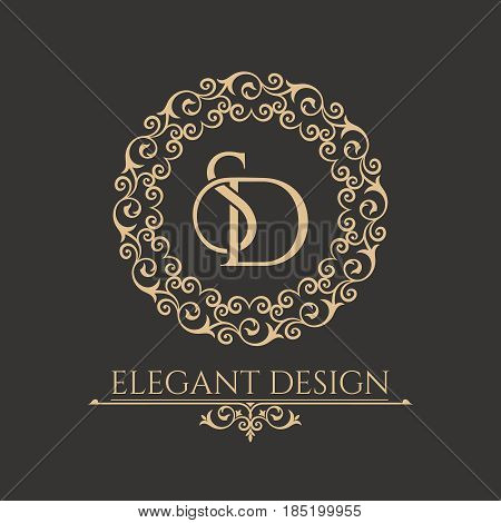 Monogram from intertwining letters SD in elegant flower frame. Baroque style. Place for the text. Golden template for cafe bars boutiques invitations. Logo for business. Vintage vector elements of design.