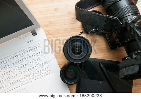 Professional Photography Editing Equipment With Camera And Laptop