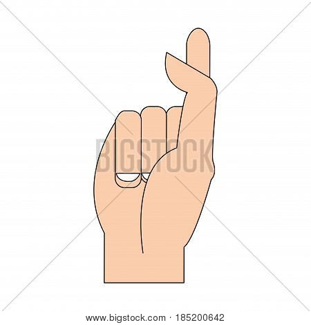 color silhouette image hand crossing fingers vector illustration