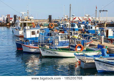 Playa Blanca, Lanzarote, 03 April, 2017: Boats And Yachts In Rubicon Marina, Lanzarote, Canary Islan