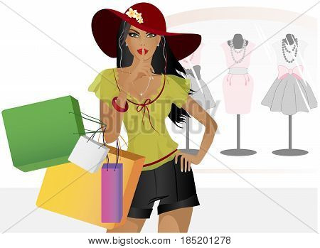 Beautiful girl with shopping. Girl shows the sign