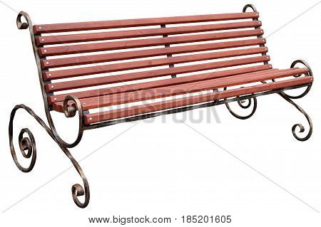 Brown bench with twisted legs isolated on white background.
