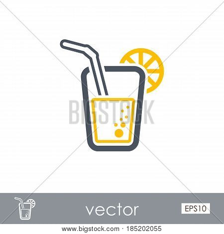 Cocktail outline vector icon. Beach. Summer. Summertime. Vacation eps 10