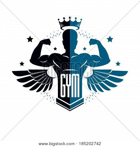 Fitness and heavyweight gym sport club logotype template retro style vector emblem with wings. With sportsman silhouette.