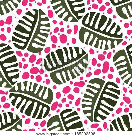 Seamless Trendy Pattern design with doodle tropical leafs and spots. design of wallpaper, fabric, card, packaging and decorative textile. Concept for womens day, birthday and other holidays